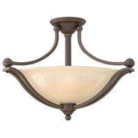 Bolla 3 Light 23 inch Olde Bronze Semi Flush Ceiling Light in Light Amber Seedy, Incandescent