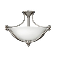 Hinkley Lighting Bolla 3 Light Semi-Flush Mount in Brushed Nickel with Etched Opal Glass 4669BN-GU24