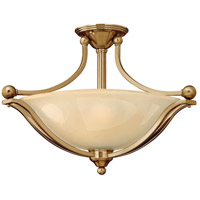 Bolla 3 Light 23 inch Brushed Bronze Semi-Flush Mount Ceiling Light in Light Amber Seedy, GU24, Light Amber Seedy Glass