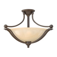 Bolla 3 Light 23 inch Olde Bronze Semi-Flush Mount Ceiling Light in Light Amber Seedy, GU24, Light Amber Seedy Glass