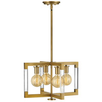 Hinkley 4683LCB Kellen 4 Light 18 inch Lacquered Brass Semi-Flush Mount Ceiling Light, Convertible to Pendant
