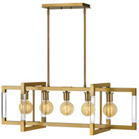 Hinkley 4686LCB Kellen 5 Light 38 inch Lacquered Brass Linear Chandelier Ceiling Light