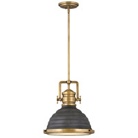 Hinkley 4697HB-DZ Keating 1 Light 14 inch Heritage Brass with Aged Zinc Pendant Ceiling Light