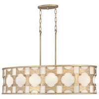 Hinkley 4738BNG Carter 6 Light 37 inch Burnished Gold Linear Chandelier Ceiling Light, Oval