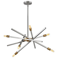 Hinkley 4765BN Archer 6 Light 26 inch Brushed Nickel with Brushed Bronze Accents Chandelier Ceiling Light, Single Tier