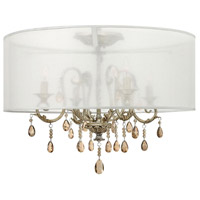 Carlton 4 Light 24 inch Silver Leaf Semi Flush Ceiling Light, Amber Pearl Crystal