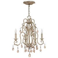 Carlton 4 Light 18 inch Silver Leaf Chandelier Ceiling Light, Amber Pearl Crystal