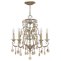 Carlton 5 Light 24 inch Silver Leaf Chandelier Ceiling Light