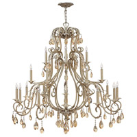 Hinkley 4779SL Carlton 21 Light 45 inch Silver Leaf Chandelier Ceiling Light, Amber Pearl Crystal
