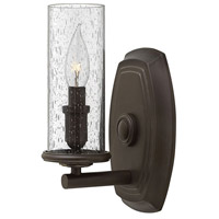 Hinkley 4780OZ Dakota 1 Light 6 inch Oil Rubbed Bronze Sconce Wall Light, Clear Seedy Hurricane Shade