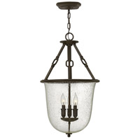 Hinkley 4783OZ Dakota 3 Light 16 inch Oil Rubbed Bronze Foyer Ceiling Light, Clear Seedy Glass