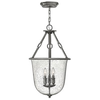 Hinkley 4783PL Dakota 3 Light 16 inch Polished Antique Nickel Foyer Light Ceiling Light Clear Seedy Glass