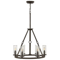 Hinkley 4786OZ Dakota 6 Light 27 inch Oil Rubbed Bronze Chandelier Ceiling Light, Clear Seedy Hurricane Shade