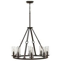 Hinkley 4788OZ Dakota 8 Light 32 inch Oil Rubbed Bronze Foyer Chandelier Ceiling Light, Clear Seedy Hurricane Shade