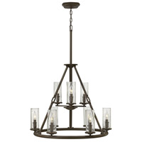 Hinkley 4789OZ Dakota 9 Light 29 inch Oil Rubbed Bronze Foyer Chandelier Ceiling Light, Clear Seedy Glass