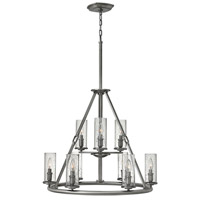 Hinkley 4789PL Dakota 9 Light 29 inch Polished Antique Nickel Foyer Chandelier Ceiling Light, Clear Seedy Glass