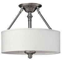 Hinkley 4791BN Sussex 3 Light 16 inch Brushed Nickel Foyer Semi-Flush Mount Ceiling Light