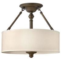 Sussex 3 Light 16 inch English Bronze Semi Flush Ceiling Light