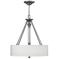 Hinkley 4794BN Sussex 3 Light 22 inch Brushed Nickel Inverted Pendant Ceiling Light