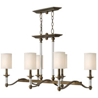 Sussex 6 Light 37 inch English Bronze Linear Chandelier Ceiling Light