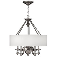 Hinkley 4797BN Sussex 4 Light 23 inch Brushed Nickel Chandelier Ceiling Light in Ivory Fabric Shade