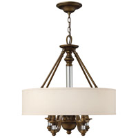 Hinkley 4797EZ Sussex 4 Light 23 inch English Bronze Inverted Pendant Ceiling Light in Off-White Fabric Shade photo thumbnail