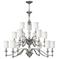 Hinkley 4799BN Sussex 15 Light 47 inch Brushed Nickel Foyer Chandelier Ceiling Light in Ivory Fabric Shade, 3 Tier