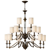 Hinkley 4799EZ Sussex 15 Light 47 inch English Bronze Chandelier Ceiling Light in Off-White Fabric Shade, 3 Tier