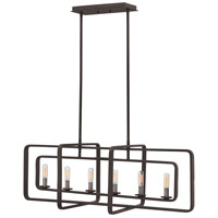 Hinkley 4815DZ Quentin 6 Light 36 inch Aged Zinc Linear Chandelier Ceiling Light
