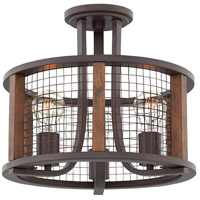 Beckett 3 Light 14 inch Iron Rust Foyer Semi-Flush Mount Ceiling Light
