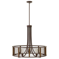Beckett 6 Light 30 inch Iron Rust Chandelier Ceiling Light, Single Tier