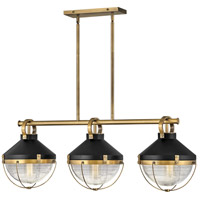 Hinkley 4846HB Crew 3 Light 42 inch Heritage Brass with Black Linear Chandelier Ceiling Light