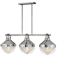 Hinkley 4846PN Crew 3 Light 42 inch Polished Nickel Linear Chandelier Ceiling Light