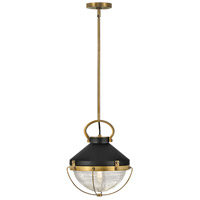 Hinkley 4847HB Crew 1 Light 12 inch Heritage Brass with Black Pendant Ceiling Light