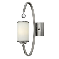 Monaco 1 Light 5 inch Brushed Nickel Sconce Wall Light, Etched Opal Glass