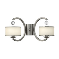Monaco 2 Light 2 inch Brushed Nickel Sconce Wall Light, Etched Opal Glass