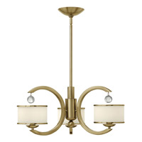 Monaco 3 Light 25 inch Brushed Caramel Chandelier Ceiling Light, Etched Opal Glass