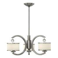 Monaco 3 Light 25 inch Brushed Nickel Chandelier Ceiling Light, Etched Opal Glass
