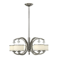 Hinkley 4855BN Monaco 5 Light 28 inch Brushed Nickel Chandelier Ceiling Light, Etched Opal Glass
