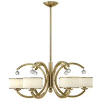 Monaco 6 Light 32 inch Brushed Caramel Chandelier Ceiling Light, Etched Opal Glass
