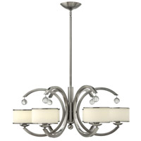 Hinkley 4856BN Monaco 6 Light 32 inch Brushed Nickel Chandelier Ceiling Light, Etched Opal Glass