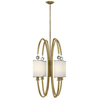 Monaco 4 Light 27 inch Brushed Caramel Foyer Ceiling Light, Etched Opal Glass