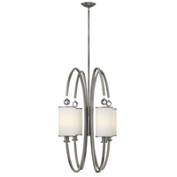 Monaco 4 Light 27 inch Brushed Nickel Foyer Ceiling Light, Etched Opal Glass