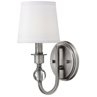 Hinkley 4870AN Morgan 1 Light 6 inch Antique Nickel Sconce Wall Light, White Linen Shade