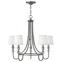 Hinkley 4875AN Morgan 5 Light 27 inch Antique Nickel Chandelier Ceiling Light, White Linen Shade