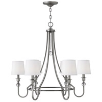 Hinkley 4876AN Morgan 6 Light 30 inch Antique Nickel Chandelier Ceiling Light, White Linen Shade