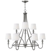Morgan 9 Light 35 inch Antique Nickel Chandelier Ceiling Light, White Linen Shade