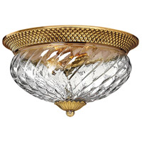 Plantation 3 Light 16 inch Burnished Brass Flush Mount Ceiling Light
