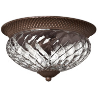 Plantation 3 Light 16 inch Copper Bronze Flush Mount Ceiling Light
