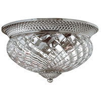 Plantation 3 Light 16 inch Polished Antique Nickel Flush Mount Ceiling Light